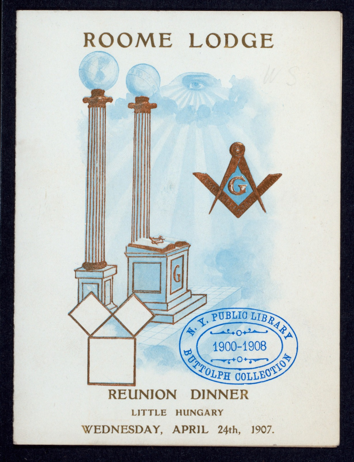 """REUNION DINNER [held by] ROOME LODGE [at] """"LITTLE HUNGARY, (?)"""" (REST;)"""