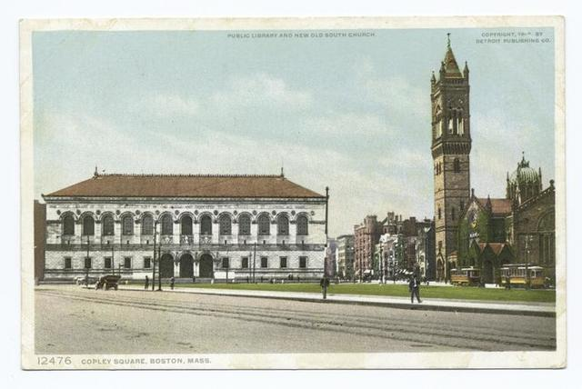 Copley Sq., Public Library, New and Old South Church, Boston, Mass.