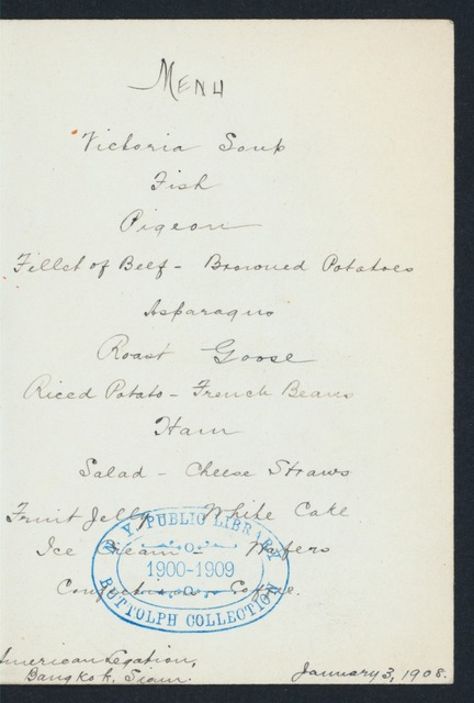 "DINNER [held by] AMERICAN LEGATION [at] ""BANGKOK, THAILAND"" (FOR;)"