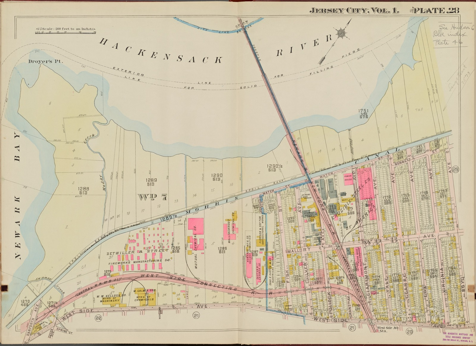 Hudson County, V. 1, Double Page Plate No. 28 [Map bounded by Hackensack River, Boyd Ave., West Side Ave., Newark Bay]
