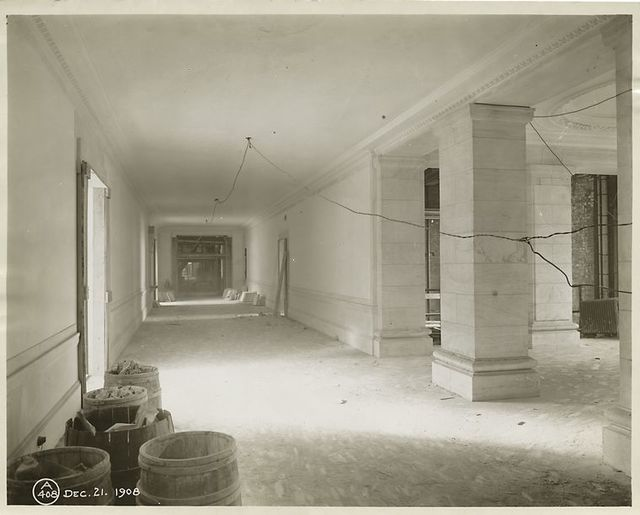 Interior work : construction of the Stokes Gallery.