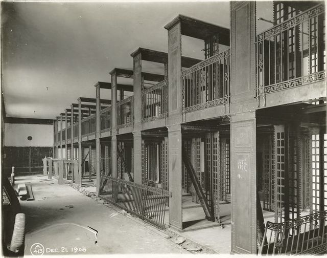 Interior work : construction of two levels of bookstacks.