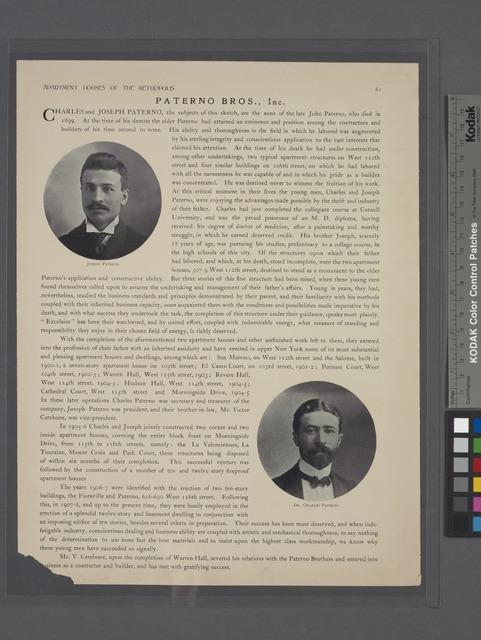 Joseph Paterno ; Dr. Charles Paterno.