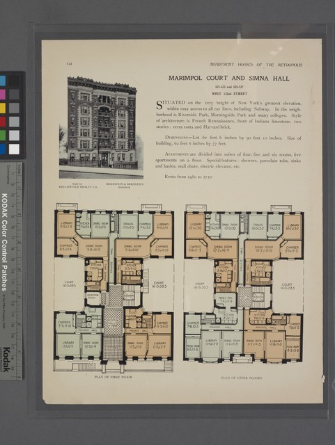 Marimpol Court and Simna Hall, 521-523 and 525-527 West 122nd Street; Plan of first floor; Plan of upper floors.