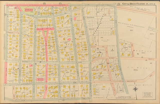 Mount Vernon, Double Page Plate No. 8  [Map bounded by Lincoln Ave., Elm Ave., Cottage Ave.]