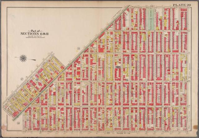 Plate 20: [Bounded by Saratoga Avenue, Chauncey Street, Stuyvesant Avenue, Hart Street, Broadway, Willoughby Avenue, Bushwick Avenue & Broadway.]
