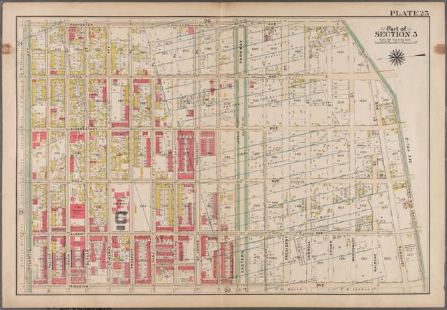Plate 25: [Bounded by Rochester Avenue, East New York Avenue, Kingston Avenue and Atlantic Avenue.]