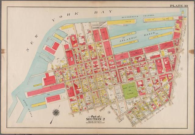 Plate 30:[Bounded by (New York Bay Piers) Ferris Street, Pioneer Street, (Atlantic Basin) Imlay Street, Hamilton Avenue, Hicks Street, Centre Street, Columbia Street, Bush Street, Otswego Street, Wolcott Street, Dwight Street, Beard Street, (Erie Basin) Van Brunt Street, Reid Street and Van Dyke Street.]