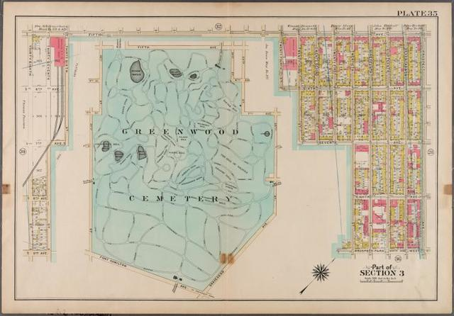 Plate 35: [Bounded by 9th Avenue, Twentyeighth Street (Greenwood Cemetery), Fifth Avenue, Prospect Avenue, Prospect Park West, Twentieth Street, Seventh Avenue, 20th Street, Gravesend Avenue, Fort Hamilton Avenue, 37th Street and 7th Avenue.]