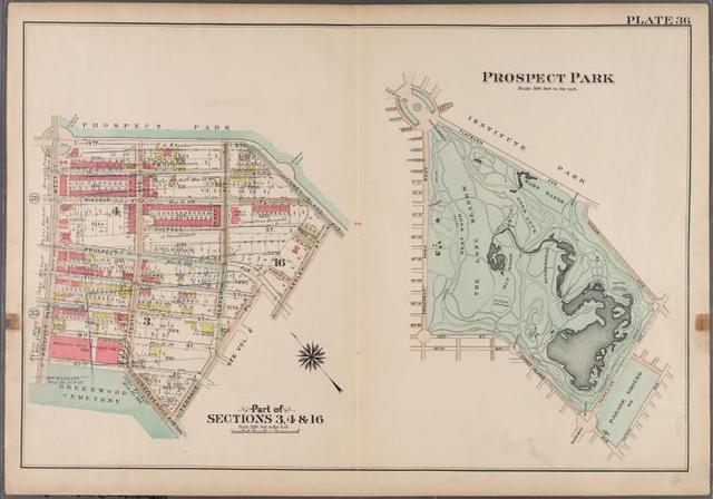 Plate 36: Prospect Park [Bounded by (Institute Park) Flatbush Avenue, Ocean Avenue, Caton Avenue, Coney Island Avenue, Seeley Avenue, Prospect Avenue, Terrace Place, (Greenwood Cemetery) Gavesend Avenue, 20th Street and Prospect Park West.]