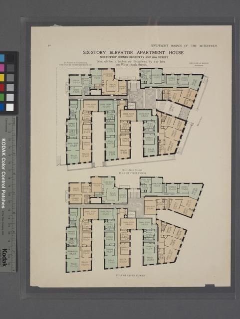 Six-story elevator apartment house, northwest corner Broadway and 180th Street. Plan of first floor; Plan of upper floors.