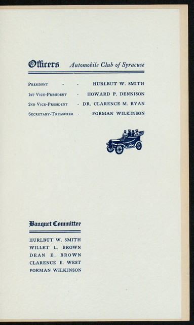 """SIXTH ANNUAL BANQUET [held by] AUTOMOBILE CLUB OF SYRACUSE [at] """"DATES, THE, SYRACUSE, NY"""" ((?REST?);)"""