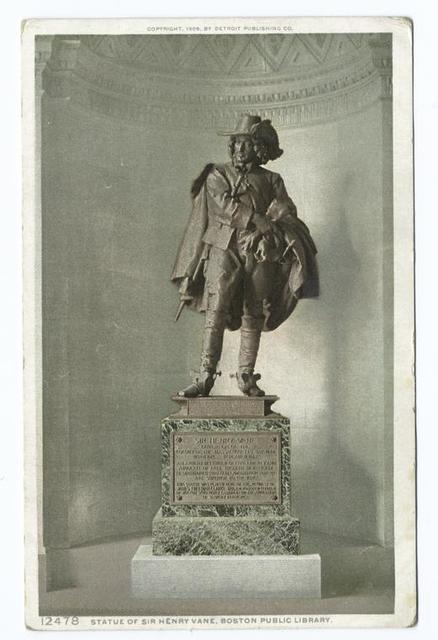 Statue of Sir Henry Vane, Public Library, Boston, Mass.
