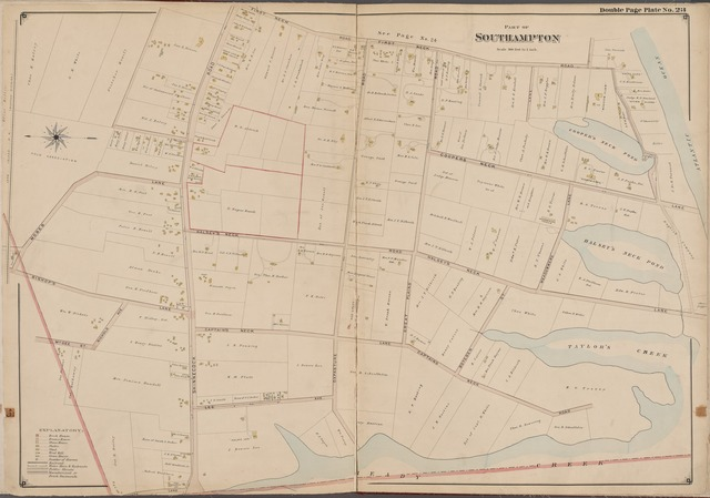 Suffolk County, V. 1, Double Page Plate No. 23 [Map bounded by First Neck Rd., Atlantic Ocean, Haeady Creek, Moses Lane]