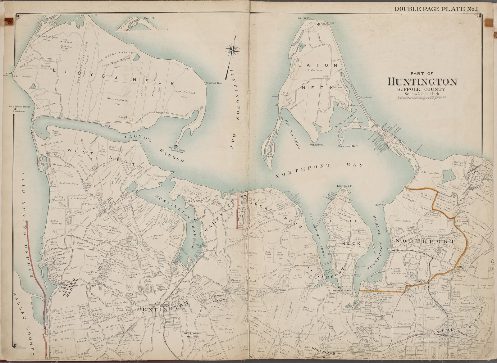 Suffolk County, V. 2, Double Page Plate No. 1 [Map bounded by Lloyds Neck, Eaton Neck, North Port, East North Port, Little Neck, Center Port, Greenlawn, Huntington, West Neck]