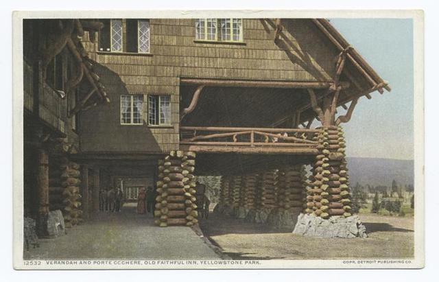 Verandah and Porte Cochere, Old Faithful Inn, Yellowstone Ntl. Park. Wyo.
