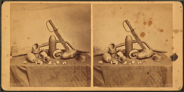 [View of bayonet, Shells and other war relics.]