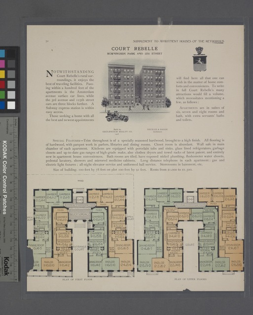 Court Rebelle, Morningside Park and 122nd Street; Plan of first floor; Plan of upper floors.