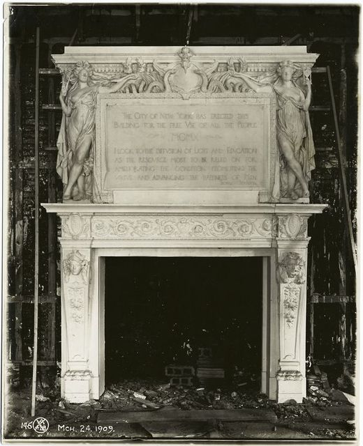 [Plaster model of a fireplace and a dedicatory panel, for the Trustees Room.]