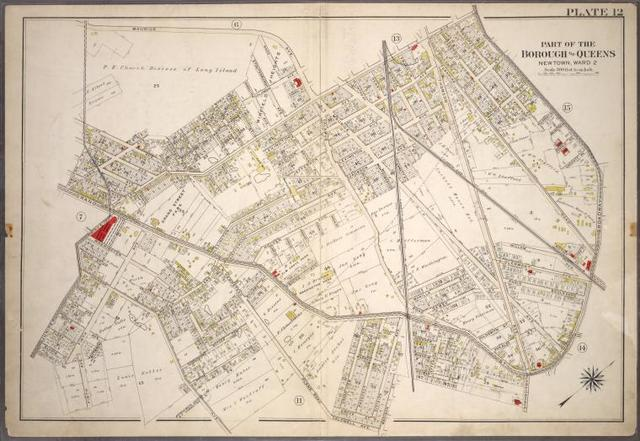 [Plate 12: Bounded by Maurice Avenue, Fisk Avenue, Broadway, Grand Street, Division Avenue, Grove Street, ... Plank Road, ... Johnson Avenue, Firth Avenue, Gladys Place and Juniper Avenue.]