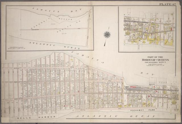 [Plate 47: Bounded by (Jamaica Bay) Bayside Drive, Bay Avenue, Centre Street, Boulevard, Eastern Avenue, (Atlantic Ocean) Triton Avenue, Pelham Avenue, Washington Avenue and Park Avenue.]