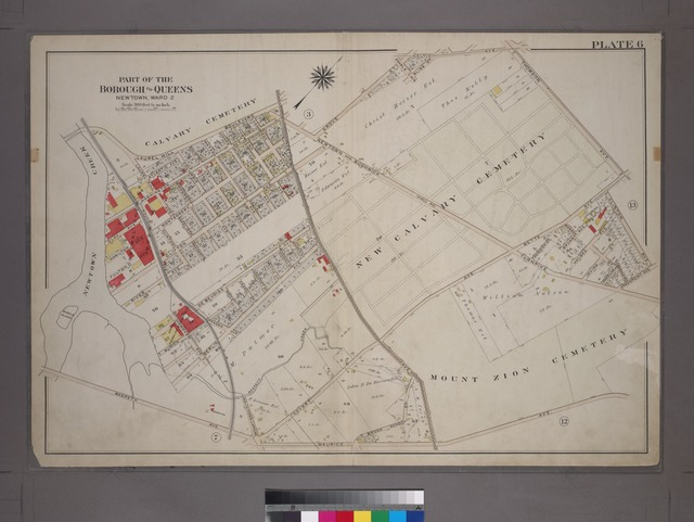 [Plate 6: Bounded by Laurel Hill Boulevard (Calvary Cemetery), Grove Street, Thomson Avenue, Betts Avenue, Clinton Avenue, Greenpoint Avenue, Newtown and Bushwick Turnpike (Mount Zion Cemetery), Covert Avenue, Newtown Avenue, Old Brook School Road, Maurice Avenue and Newtown Creek.]