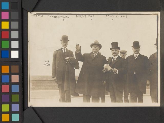 Taft, Williams, and three others on Ellis Island, Oct. 18, 1910.