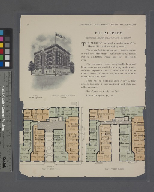 The Alfredo, southwest corner Broadway and 162nd Street; Plan of first floor; Plan of upper floors.