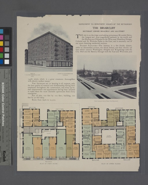 The Briarcliff, southeast corner Broadway and 162nd Street; Plan of first floor; Plan of upper floors; View looking South from the Briarcliff.