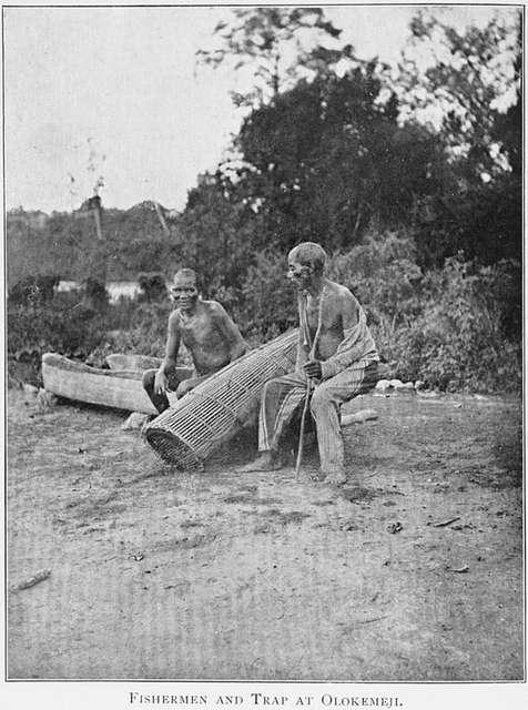 Fishermen and trap at Olokemeji.