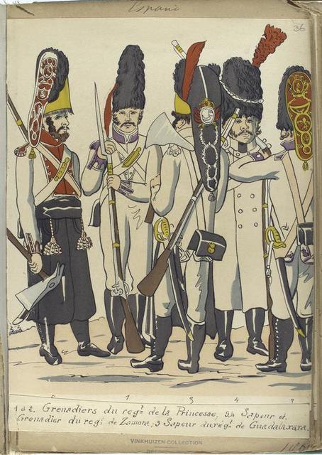 1 et 2. GrenadIers du reg-t de la Princesse; 3, 4. Sapeur et Grenadier du reg -t de Zamora; 5. Sapeur du reg-t de Guadalaxara. (1806).