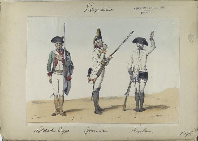 1. Soldado ligero; 2. Granadero;  3. Fusilero. (1798)