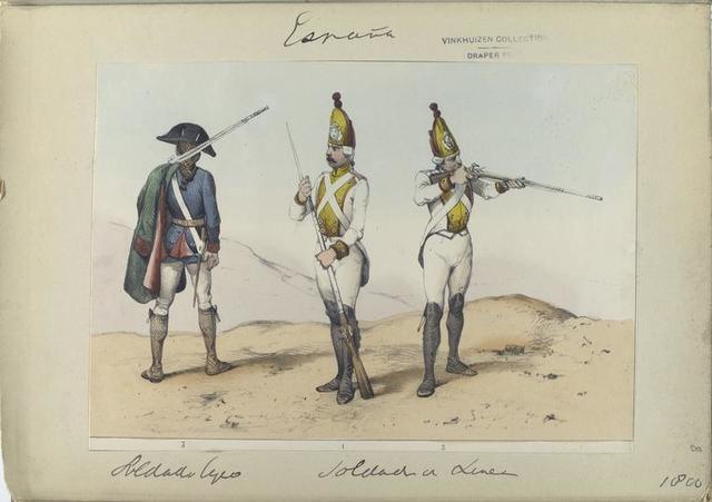3. Soldado ligero; 1, 2.  Sodados de Linea. (1800)