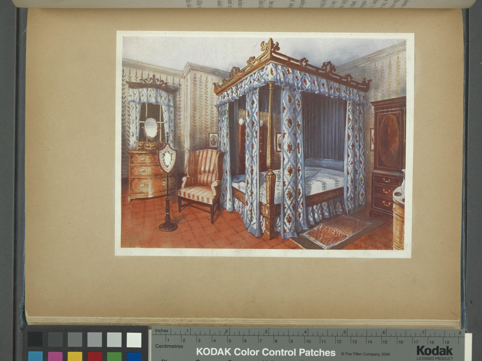 A heppelwhite bedroom. Chintz-curtained inlaid satinwood bed from Dr. Horne's collection. Inlaid satinwood dressing chest and mahogany wardrobe from Sir Walter Gilbey's collection.