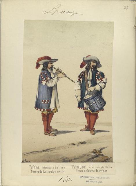 a] Pifaro, Infanteria de linea. Tercio de los azules viejos. [b] Tambor, Infanteria de linea. Tercio de los verdes viejos. 1680