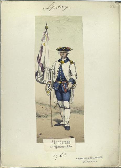 Abanderado, del regimiento de Milan. 1768