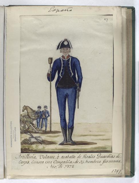 Artilleria Volante, ó acaballo de Reales Guardias de Corps. Consta esta Compañia de 54 hombres, fue creada Año, de 1797 (1797).