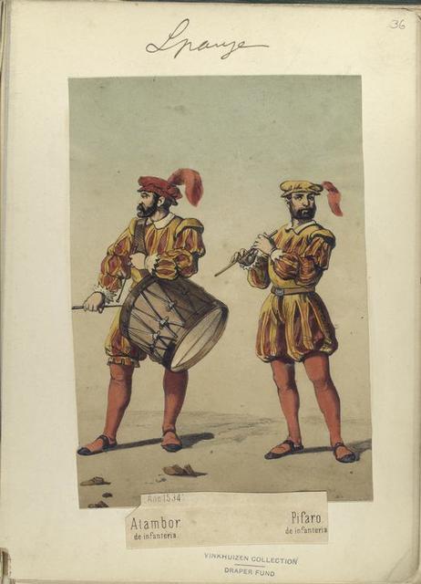 Atambor de infanteria; Pifaro de infanterio (Año 1534).