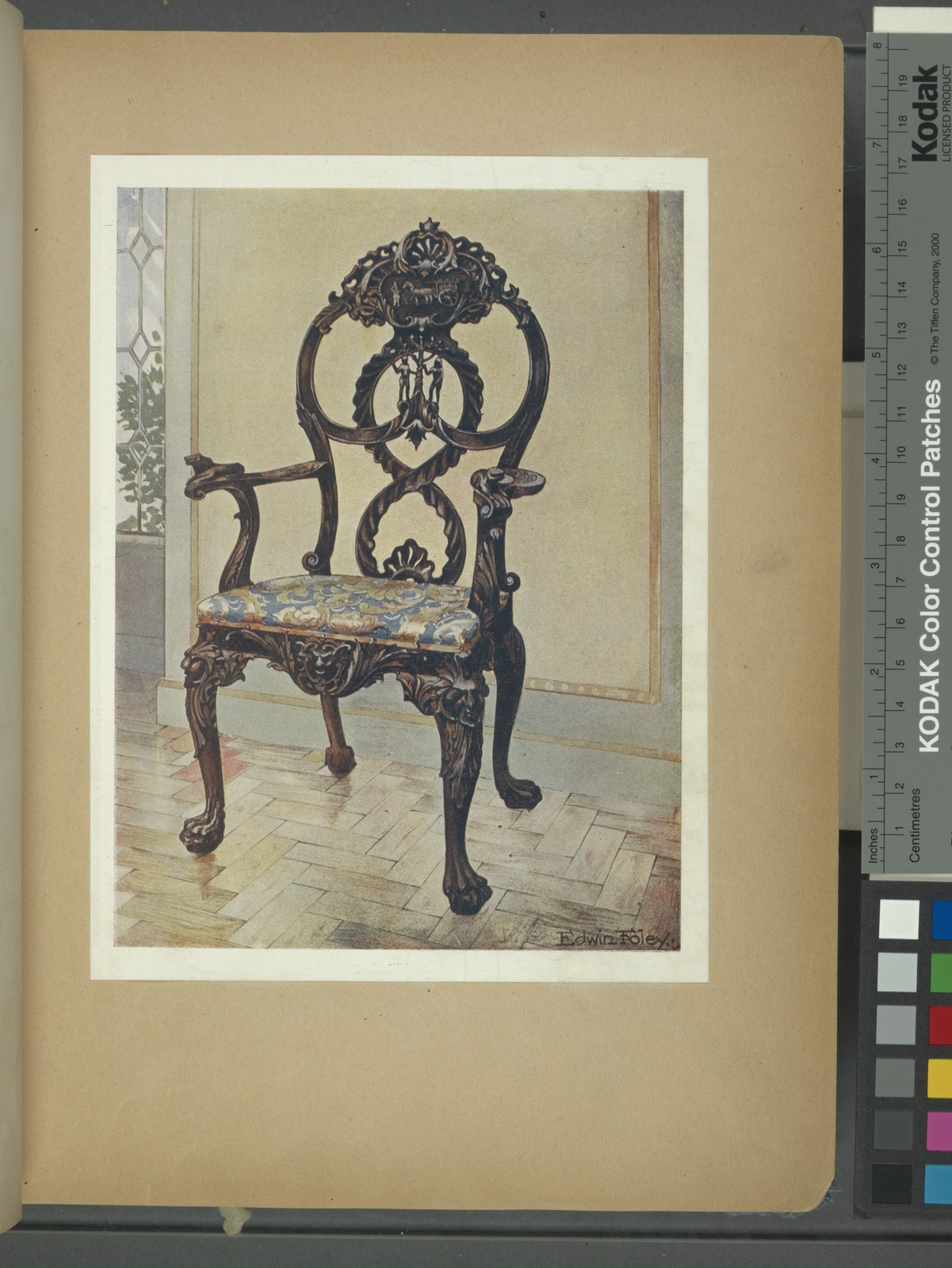 Carved early Chippendale chairman's chair. Property of Mrs. Storr, Edenbridge, ca. 1735.