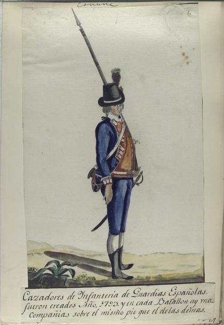Cazadoros de Infanteria de Guardias Españolas, fueron creados Año, 1793, y en cada Batallon ay vna Compañia sobre el mismo pie gue el de las demas (1797).