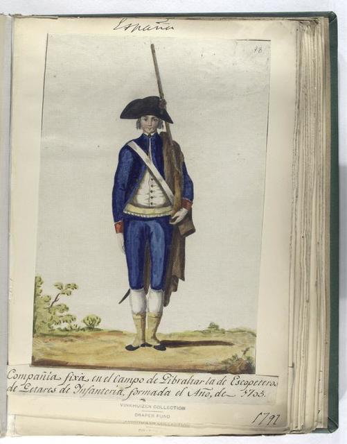 Compañia fixa en el campo de Gibraltar la  de Escopeteros de Getares de Infanteria, formade el Año, de 1705 (1797).