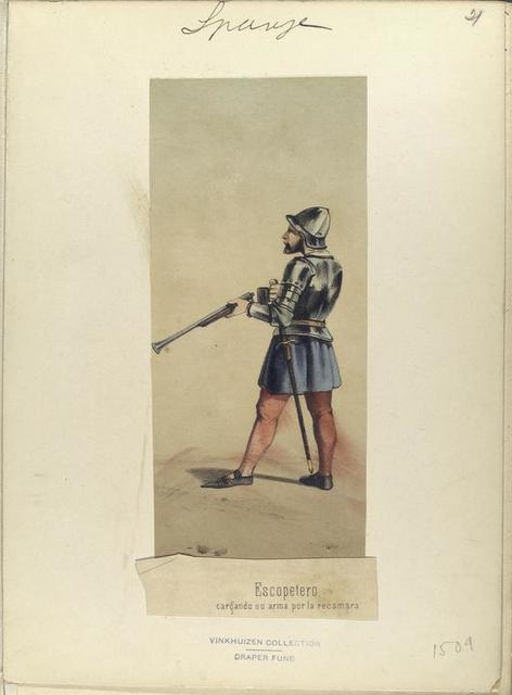 Escopetero, cargando su arma por la recamara. 1504