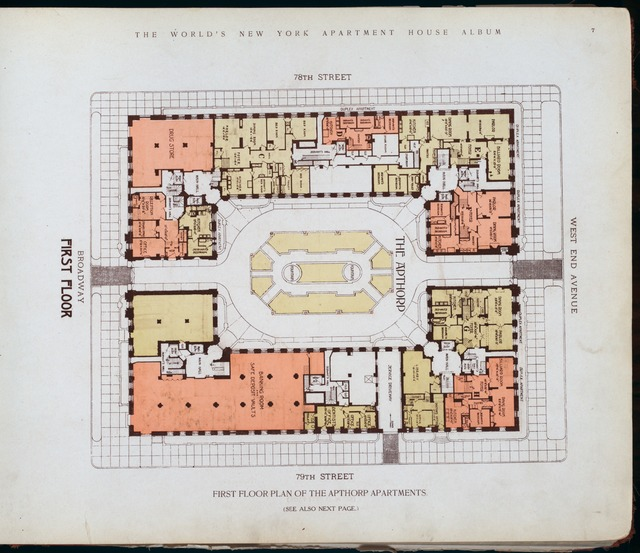 First floor plan of the Apthorp Apartments.