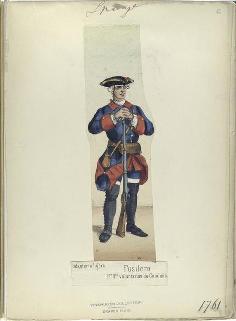 Fusilero. 1-er R.-to [Regimiento] de Cataluña. 1761