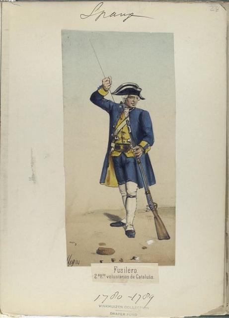 Fusilero, 2-o R-to [segunto regimiento] volunrtarios de Cataluña. (Años de 1780 á 1789).