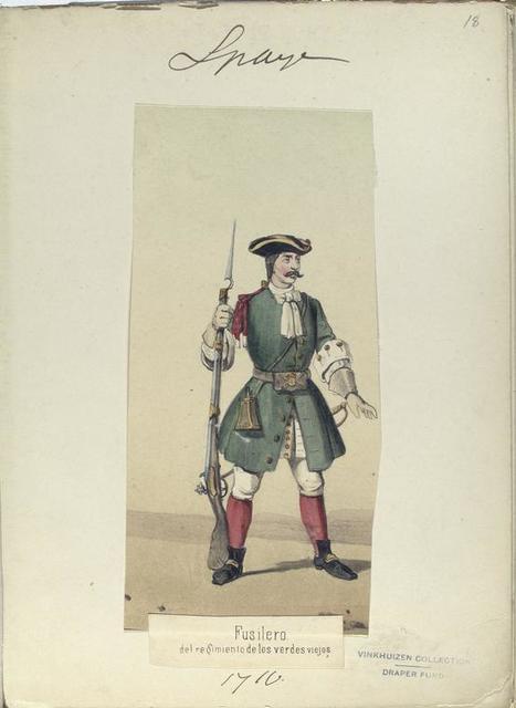 Fusilero del regimiento de los verdes viejos. 1710