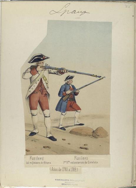 Fusilero, del regimiento de Vitoria; Fusilero, 1-er R-to [regimiento] voluntarios de Cataluña.  (Años de 1780 á 1789).