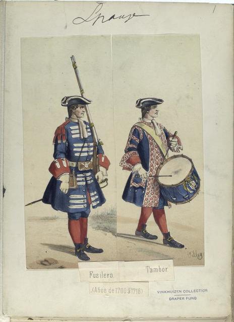 Fusilero. Tambor. (Años de 1700 á 1718).