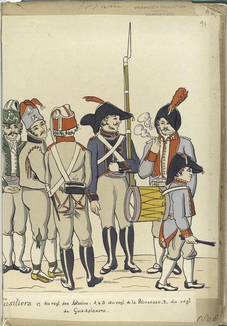 Fusiliers : 1. du reg-t des Asturies ; 2, 4, 5. du reg-t de la Princesse; 3. du reg-t de Guadalaxara (1806).