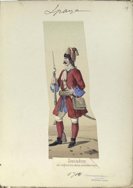 Granadero del regimiento de los colorados viejos. 1710